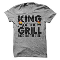 King Of The Grill Tshirt Bbq Shirt Fathers Day Gift Cooking Tees Grilling Outdoors Funny Mens T-Shirt