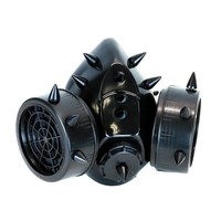 Black Metal Short Spikes Gas Mask Respirator Cyber Goth Cosplay