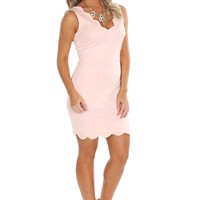 Scallop Cutout Dress Blush