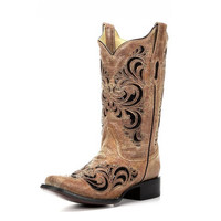 Corral Cognac & Black Sequence Inlay & Studs Boots R1289