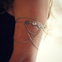 slave bracelet armlet silver filigree with pink opal, armlet slave bracelet, upper arm chain, body chain, unique jewelry