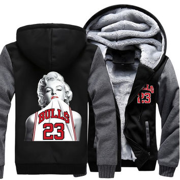 USA size Men Women Marilyn Monroe No. 23 Jersey Zipper Jacket Sweatshirts Thicken Hoodie Coat Clothing Casual