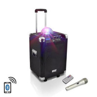Disco Jam 400 Watt Bluetooth 10'' Portable PA Speaker System with Built-in Rechargeable Battery, Wireless Headset, Handheld & Lavaliere Microphones & AM/FM Radio