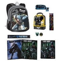 """Batman 16"""" The Dark Knight Backpack & ULTIMATE Back to School Set includes Lunch Tote, Folders, Spiral, Pencils and More"""