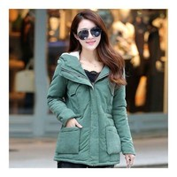 Winter Woman Middle Long Slim Cotton Coat Hoodied Thick    army green   M