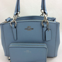 New Authentic Coach F57523 Mini Christie Crossgrain Leather Carryall Satchel Shoulder Bag in Cornflower Blue +Wallet Set