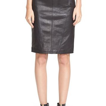Women's Burberry Brit Leather & Suede Pencil Skirt,