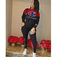 Champion Women Fashion Letter Pullover Sweater Pants Set Two-Piece