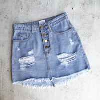 Daya - Button Up Distressed Denim Skirt
