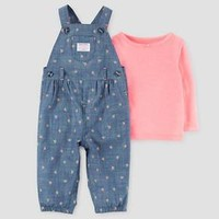 Baby Girls' 2 Piece Floral Overall Set Blue/Pink - Just One You™ Made by Carter's®