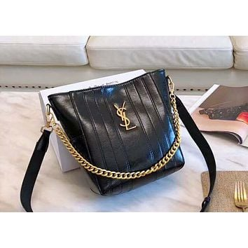 YSL 2019 new burst crack female paragraph shoulder bag bucket bag Black