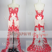 2014 Red Prom Dress,Strapless Hi-low Gown Rich Beaded Lace Applique Prom Dress, Cocktail Dress,Dresses,Wedding Dress,Formal Dresses