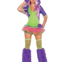 One Eyed Monster - 2 pc costume includes tutu dress and furry monster hood with one eye  Neon Green
