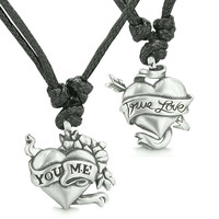 Amulets True Love and You Me Inspirational Love Couple Energy Pewter Pendant Necklaces