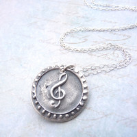 Treble clef music note wax seal necklace hand stamped from vintage wax seal from fine silver