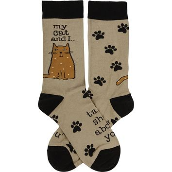 My Cat And I Talk Shit About You Socks   Funny Novelty Socks with Cool Design   Bold/Crazy/Unique Dress Socks