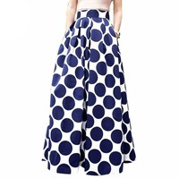 Navy Blue High Waist Polka Dots Prints Maxi Skirt Fall Contrast Casual A Line Skater Skirts 2016 Women Clothing