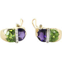Peridot Amethyst Diamond Vintage Shrimp Earrings 14 Karat Yellow Gold Estate Jewelry