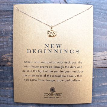 dogeared 'Reminder - New Beginnings' Pendant Necklace in gold dipped
