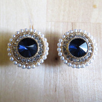 "0g - 5/8"" (8mm-19mm) / Blue Rhinestone Pearl Wedding / Plugs Gauges Stretchers Earrings / Stretched Gauged Ears"
