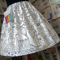 Womens Gift, Novelty Womens Skirts, Unique Gift, Color and Doodle Skirt With Coloring Pens,