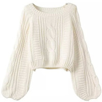 Puff Sleeve Cropped Knit Sweater