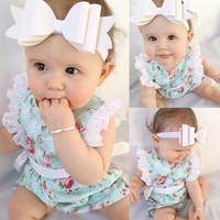 Toddler Baby Girls Floral Rompers Chic Lace Sleeve Side Summer Baby Girl Clothes Cotton Romper One Piece Jumpsuit Outfits