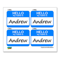 Andrew Hello My Name Is - Sheet of 4 Stickers