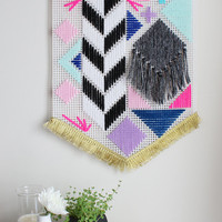 Large colourful geometric wall hanging
