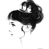 Audrey Hepburn Profile - Black and White Ink drawing