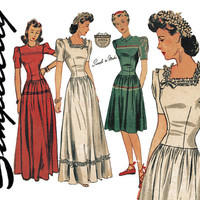 1940s Dress Pattern Bust 30 Simplicity 4490 Fitted Midriff Full Skirt Wedding Bridesmaid Formal Evening Prom Womens Vintage Sewing Patterns