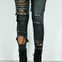Don't Look Back Charcoal Mid Rise 5 Pocket Cropped Skinny Jeans