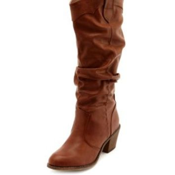 Classic Slouchy Cowboy Boot by Charlotte Russe - Cognac