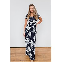 Begin With You Floral Maxi Dress- Navy