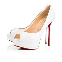 Christian Louboutin Cl Fetish Peep Latte Patent Leather 18s Bridal 1180162wha8
