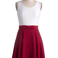 ModCloth Mid-length Tank top (2 thick straps) A-line Town Festival Dress in Cherry
