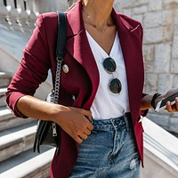 Lapel Double Breasted Blazer