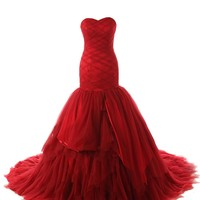 Dressystar Elegant Strapless Tulle Satin Mermaid Wedding Dress Red Lace up Bridal Gown