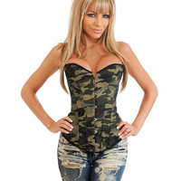 Camo Queen Burlesque Corset W-front Busk Closure, Lace Up Back & Thong Camouflage 2x