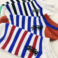 Stussy men and women socks Unisex logo embroider creative Cotton Short Socks