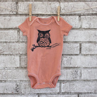 Peach Owl Baby Bodysuit, Cotton Baby Onesuit, light coral or custom colors.