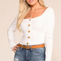 Optimistic White Button Long Sleeve Crop Top