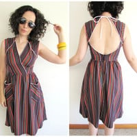 Vintage 70s Colorful Stripe / White Piping/ Open Back Spring/ Summer Dress