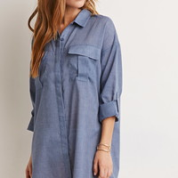 Textured Pocket Shirt Dress