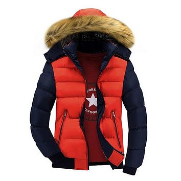 Men's Winter Jackets Thick Hooded Fur Collar Parka Men Coats Casual Padded Men's Jackets Male Clothing
