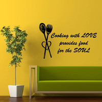 Cooking With Love Provides Food For The Soul Cafe Kitchen Wall Decals Decal Vinyl Sticker Wall Decor Home Interior Design Art Mural M1018