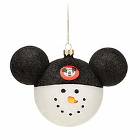 disney parks christmas ornament glass mickey ears large snowman new with tag