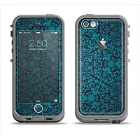 The Teal Floral Mirrored Pattern Apple iPhone 5c LifeProof Fre Case Skin Set