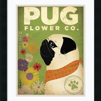 0-010405>Pug Flower Co. Framed Print by Stephen Fowler Satin Black