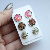 Faux Druzy Earring Set - Posts - Pink, Chunky Gold/Pink, Silver LM